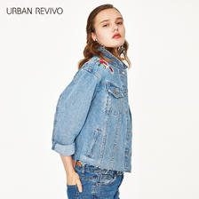 ¥199包邮 URBAN REVIVO WH33SBJN2000 女士刺绣印花牛仔外套